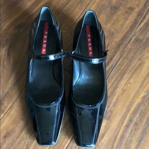 Prada Shoes - Black Patent Leather Prada Heels, sz 38.5